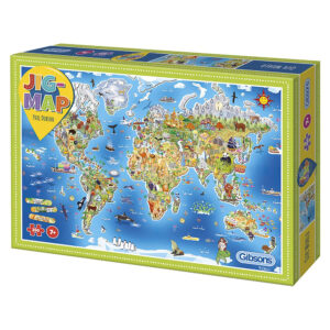Gibsons Jig Map Our World G1050 Jigsaw Box Cartoon Jigmap by Phil Dobson 250 pieces