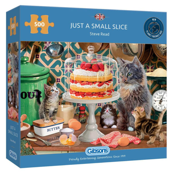 Gibsons Just A Small Slice G3133 500 pieces Jigsaw Box Cats Staring at Victoria Sponge Cake by Steve Read