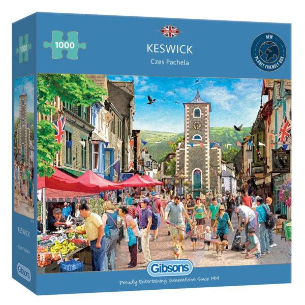 Gibsons Keswick G6312 Jigsaw Box Lake District Town Scene by Czes Pachela