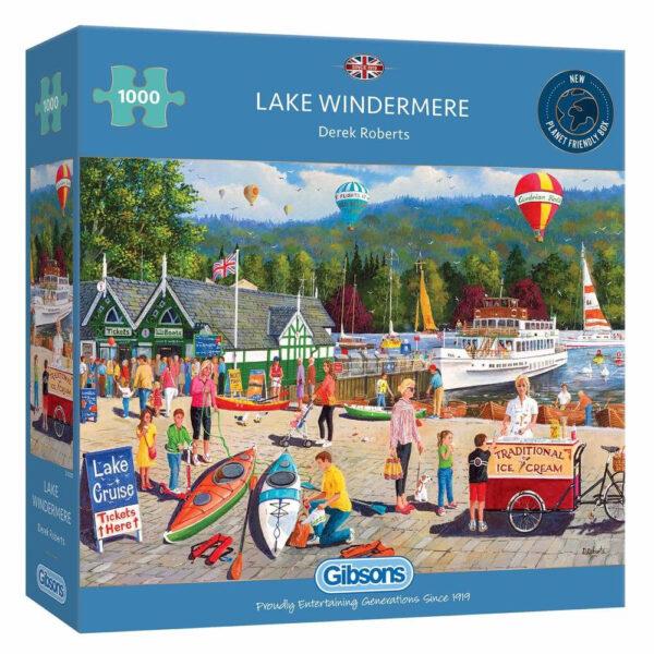 Gibsons Lake Windermere Lake District scene by Derek Roberts G6325 1000 pieces jigsaw box