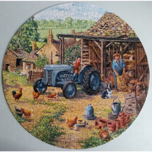 Gibsons Lending A Hand G903 Circular Jigsaw Complete Farmyard Scene by Michael Herring