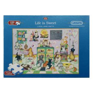 Gibsons Life Is Sweet G2212 Linda Jane Smith Jigsaw Box Cartoon Cats in Sweet Shop