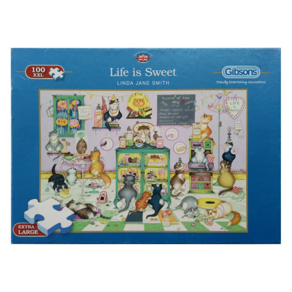Gibsons Life Is Sweet G2212 Linda Jane Smith Jigsaw Box Cartoon Cats in Sweet Shop