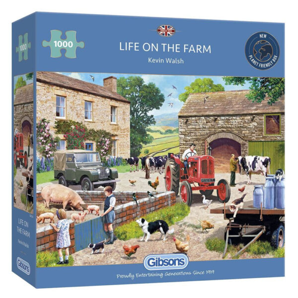 Gibsons Life on the Farm G6304 Jigsaw Box 1000 pieces Nostalgic Farmyard Scene with Cows and Pigs by Kevin Walsh