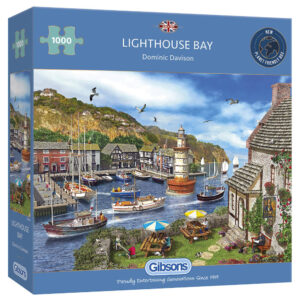 Gibsons Lighthouse Bay Harbour Scene by Dominic Davison G6285 1000 pieces jigsaw box