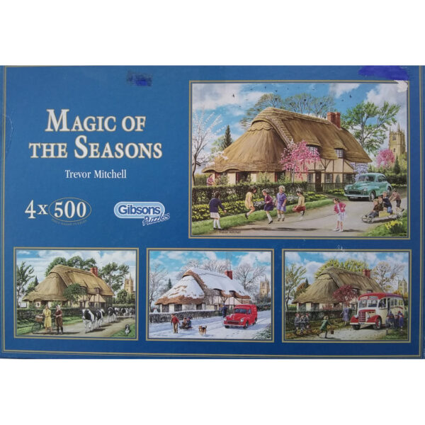 Gibsons Magic of the Seasons Thatched Cottage in Spring, Summer, Autumn and Winter by Trevor Mitchell G880 4x500 Jigsaw Box