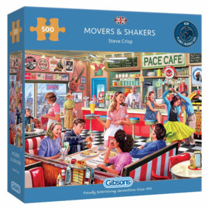 Gibsons Movers Shakers Nostalgic Cafe Scene by Steve Crisp G3117 500 pieces jigsaw box