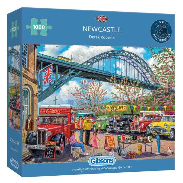 Gibsons Newcastle G6313 Jigsaw Box Classic Cars underneath Tyne Bridge by Derek Roberts