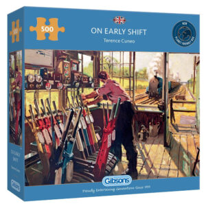 Gibsons On Early Shift G3135 Railway Signal Box Scene by Terence Cuneo 500 pieces jigsaw box