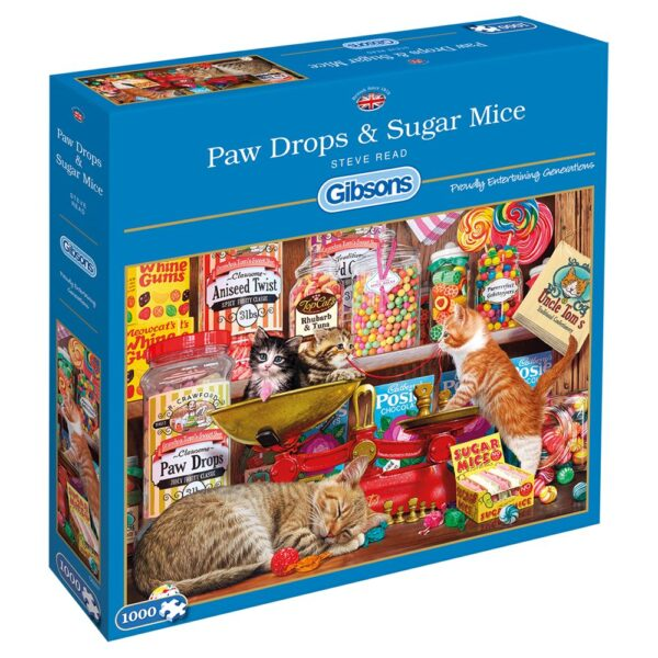 Gibsons Paw Drops Sugar Mice G6237 Jigsaw Box Cats Kittens and Sweets Scene by Steve Read