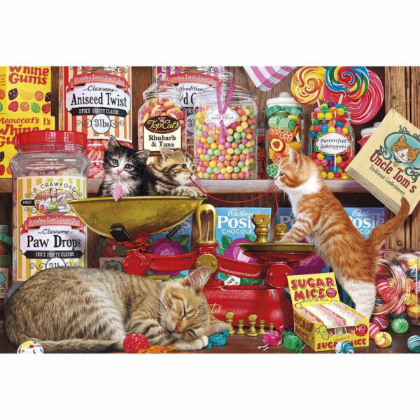 Gibsons Paw Drops Sugar Mice Cats and Sweets scene by Steve Read jigsaw image
