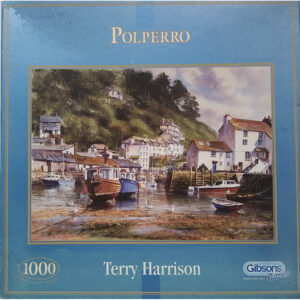 Gibsons Polperro G515 1000 pieces Cornish Harbour Scene by Terry Harrison Jigsaw Box
