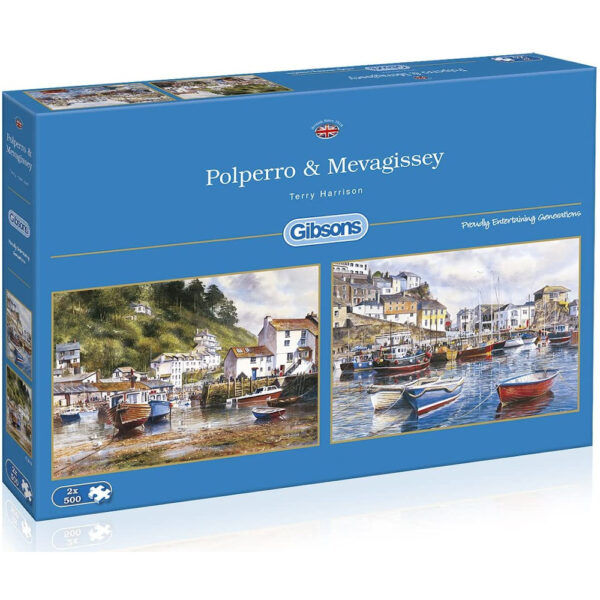 Gibsons Polperro Mevagissey 2x500 G5019 Jigsaw Box Cornwall Harbour Scenes by Terry Harrison