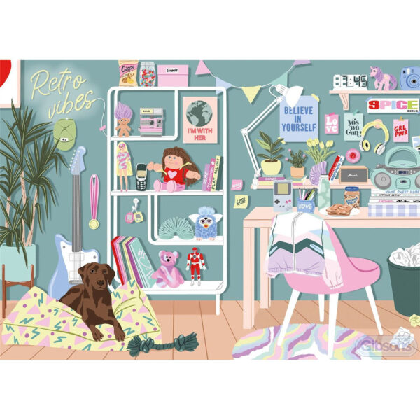 Gibsons Retro Vibes G6609 Jigsaw Image 1990s Girl Power Bedroom by Ana Hard