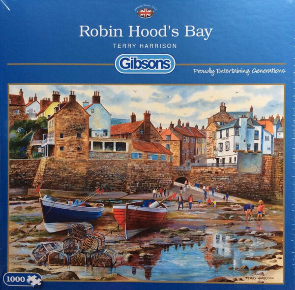 Gibsons Robin Hood's Bay G6189 Jigsaw Box Harbour Scene with Boats by Terry Harrison
