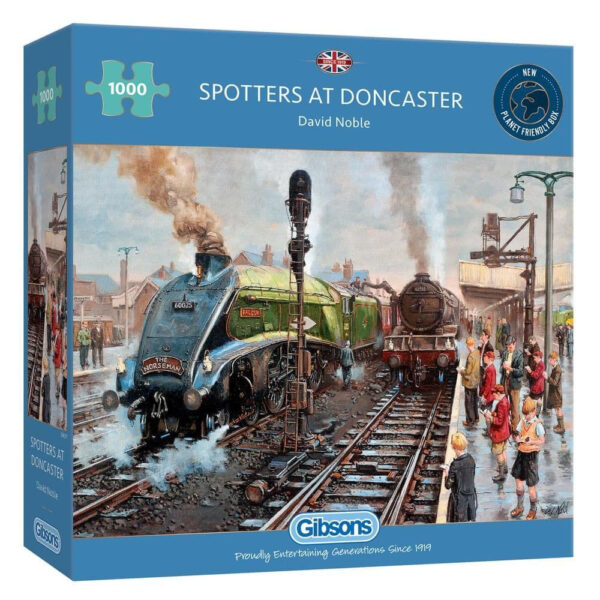 Gibsons Spotters at Doncaster G6317 Jigsaw Box Trainspotters and Steam Trains by David Noble