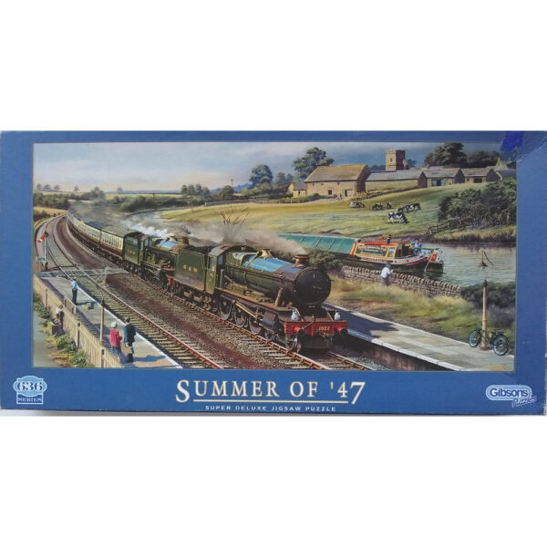 Gibsons Summer of 47 G629 Jigsaw Box 636 pieces Steam Railway and Canal Scene by Barry Freeman