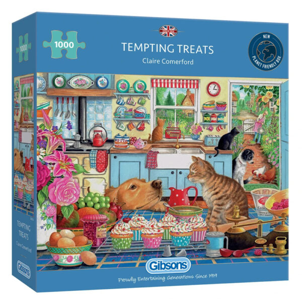 Gibsons Tempting Treats G6314 1000 pieces Jigsaw Box Cats Dog and Cake in Kitchen by Claire Comerford