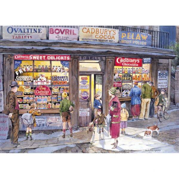 Gibsons The Corner Shop G857 Jigsaw Image Cadburys Chocolate and Sweet Shop Nostalgic Scene by Brian Eden 500 pieces