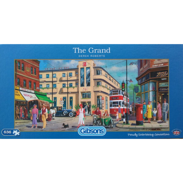 Gibsons The Grand G4035 636 pieces Jigsaw Box Nostalgic City Scene with Art Deco Hotel by Derek Roberts