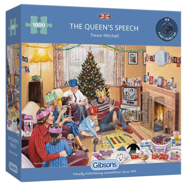 Gibsons The Queen's Speech G6307 Jigsaw Box Nostalgic Christmas TV scene by Trevor Mitchell