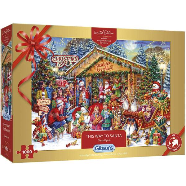 Gibsons This Way to Santa Christmas Limited Edition G2020 Jigsaw Box Santa's Grotto by Tony Ryan