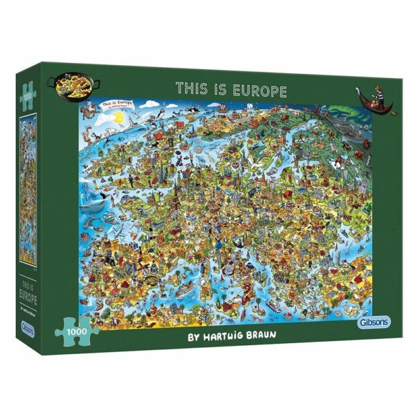 Gibsons This is Europe Cartoon Map by Hartwig Braun G7113 1000 pieces jigsaw box