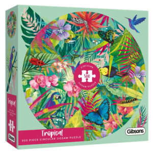Gibsons Tropical G3702 Circular Jigsaw Box 500 pieces Birds Butterflies and Insects by Claire McElfatrick