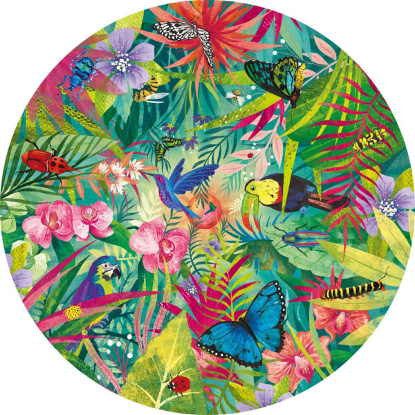 Gibsons Tropical G3702 Circular Jigsaw Image 500 pieces Birds Butterflies and Insects by Claire McElfatrick