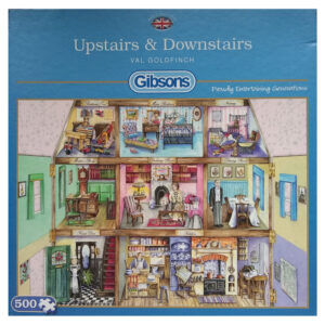 Gibsons Upstairs & Downstairs G3078 Dolls House Scene by Val Goldfinch 500 pieces jigsaw box