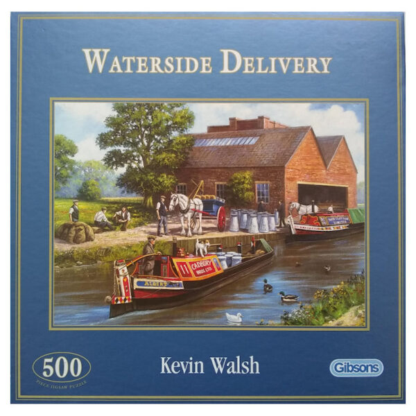 Gibsons Waterside Delivery Canal Boats scene by Kevin Walsh G3030 Jigsaw 500 pieces box