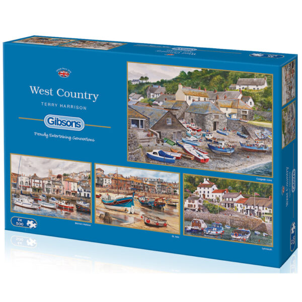 Gibsons West Country Cadgwith Cove, Brixham Harbour, St Ives and Lynmouth by Terry Harrison G5023 4x500 pieces jigsaw box