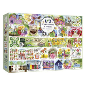 Gibsons Wheelbarrows and Wellies G7106 Jigsaw Box 1000 pieces Garden and Flower Montage by Val Goldfinch