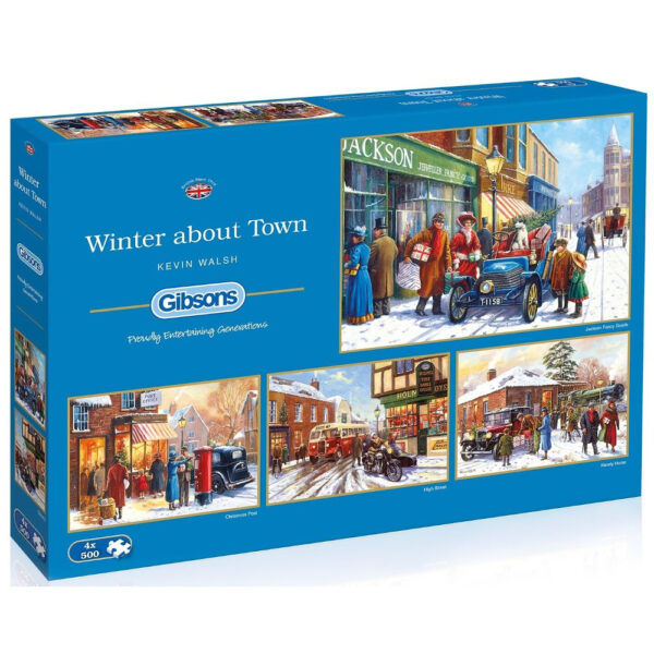 Gibsons Winter About Town G5043 Jigsaw Box Nostalgic Christmas Street Scenes by Kevin Walsh