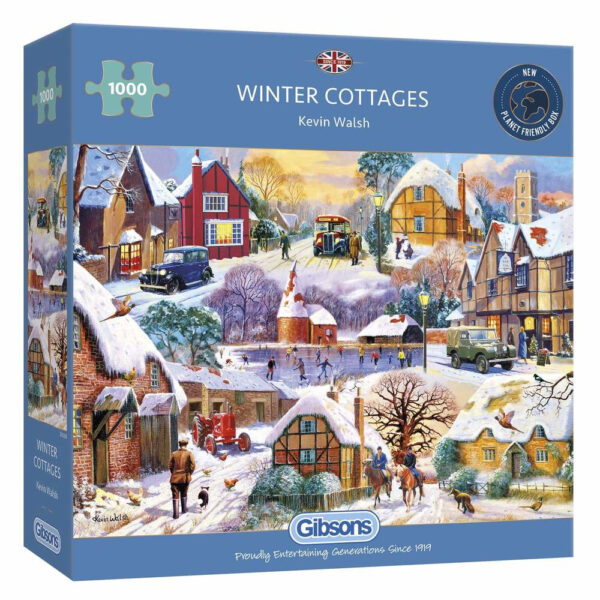 Gibsons Winter Cottages by Kevin Walsh G6326 1000 pieces jigsaw puzzle box