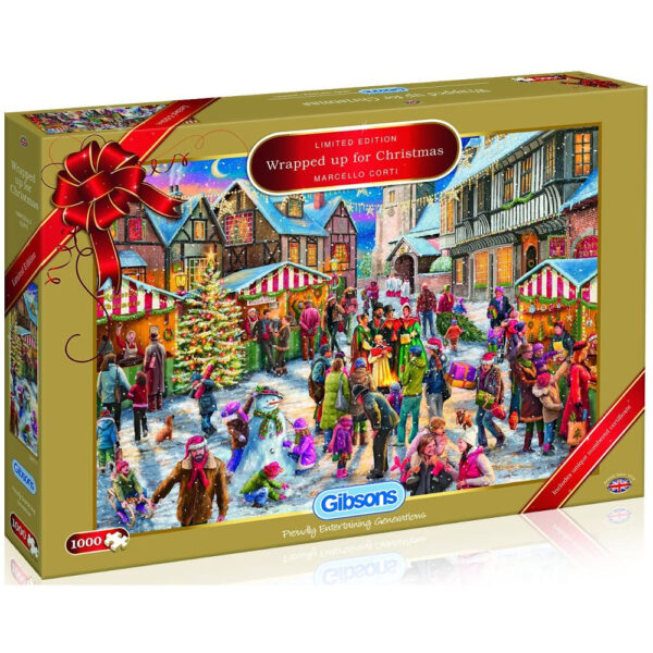 Gibsons Wrapped Up For Christmas Limited Edition G2017 Jigsaw Box Snowy Street Scene by Marcello Corti