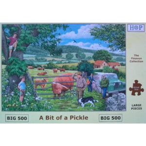 HOP A Bit of a Pickle Big 500 The Finavon Collection Jigsaw Box Cows and Farm Scene by Keith Stapleton