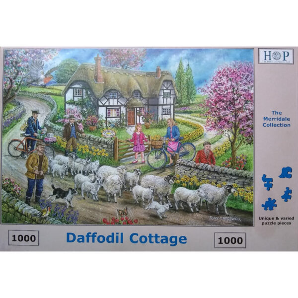 HOP Daffodil Cottage The Merridale Collection Jigsaw Box Spring Scene with Postman Sheep Lambs Flowers by Ray Cresswell