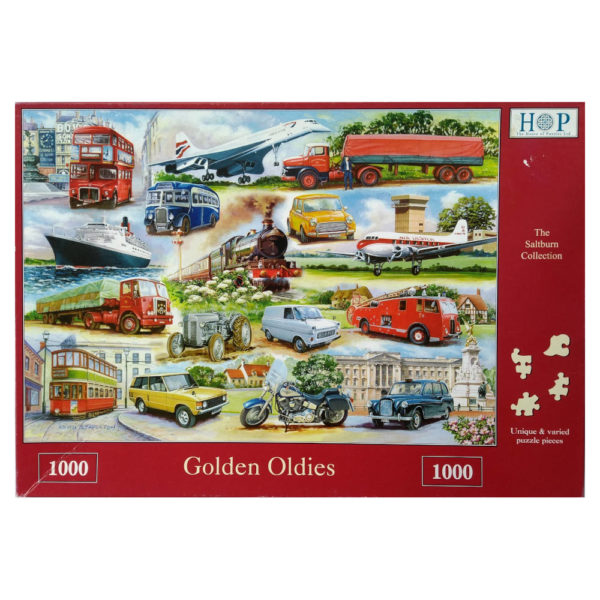 HOP House of Puzzles Golden Oldies Jigsaw Box showing Classic Transport Vehicles