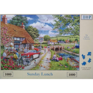 HOP Sunday Lunch The Saltburn Collection Jigsaw Box Pub and River Scene by Keith Stapleton House of Puzzles