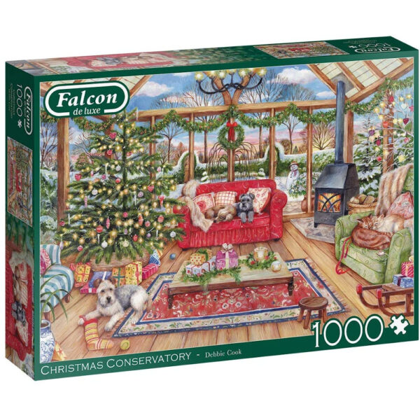Jumbo Falcon Christmas Conservatory 11275 Jigsaw Box Dogs and Cats Image by Debbie Cook
