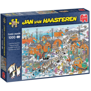 Jumbo South Pole Expedition Jan van Haasteren Comic Puzzle 20038 Jigsaw Box Penguins at Explorer's Base Cartoon by Rob Derks