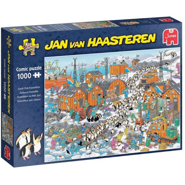 Jumbo South Pole Expedition Jan van Haasteren Comic Puzzle 20038 Jigsaw Box Penguins at Explorer's Base Cartoon by Rob Derks