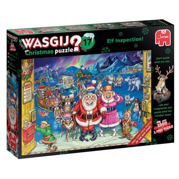 Jumbo Wasgij Christmas Puzzle 17 Elf Inspection Paul Gibbs 25003 2x1000 pieces jigsaw puzzle box