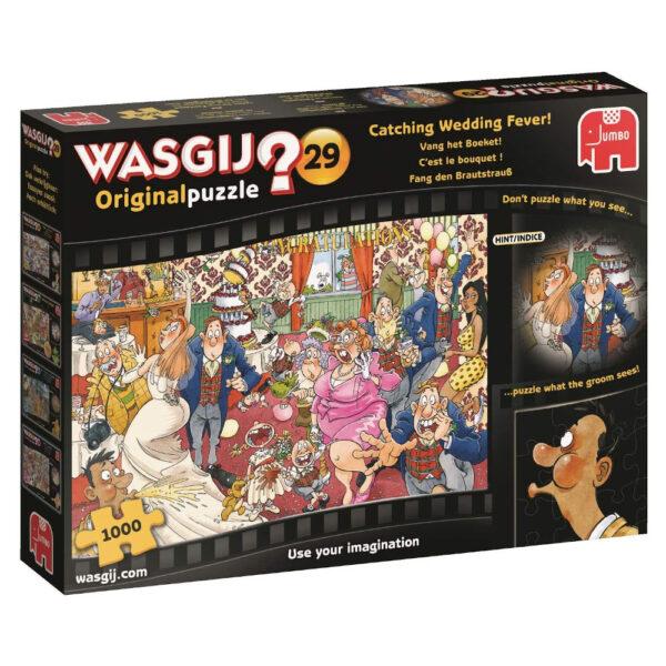 Jumbo Wasgij Original Puzzle 29 Catching Wedding Fever 19159 1000 pieces jigsaw box