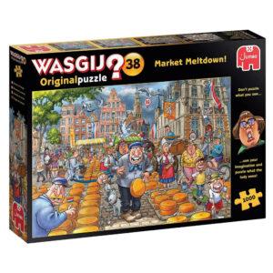 Jumbo Wasgij Original Puzzle 38 Market Meltdown Dutch Cheese Market Cartoon by Paul Gibbs 25010 1000 pieces jigsaw puzzle box