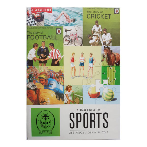 Lagoon Ladybird Sports Vintage Collection Jigsaw Box Montage Featuring Football, Cricket, Tennis, Cycling