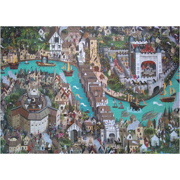 Laurence King The World of Shakespeare Adam Simpson Jigsaw 1000 pieces Complete featuring Elizabethan London and the Globe Theatre