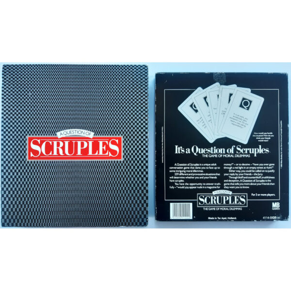 MB Games A Question of Scruples Game 1986 Box Back