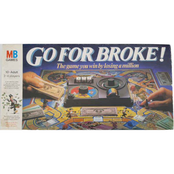 MB Games Go For Broke Collectable Game 1985 Box The Game You Win By Losing a Million